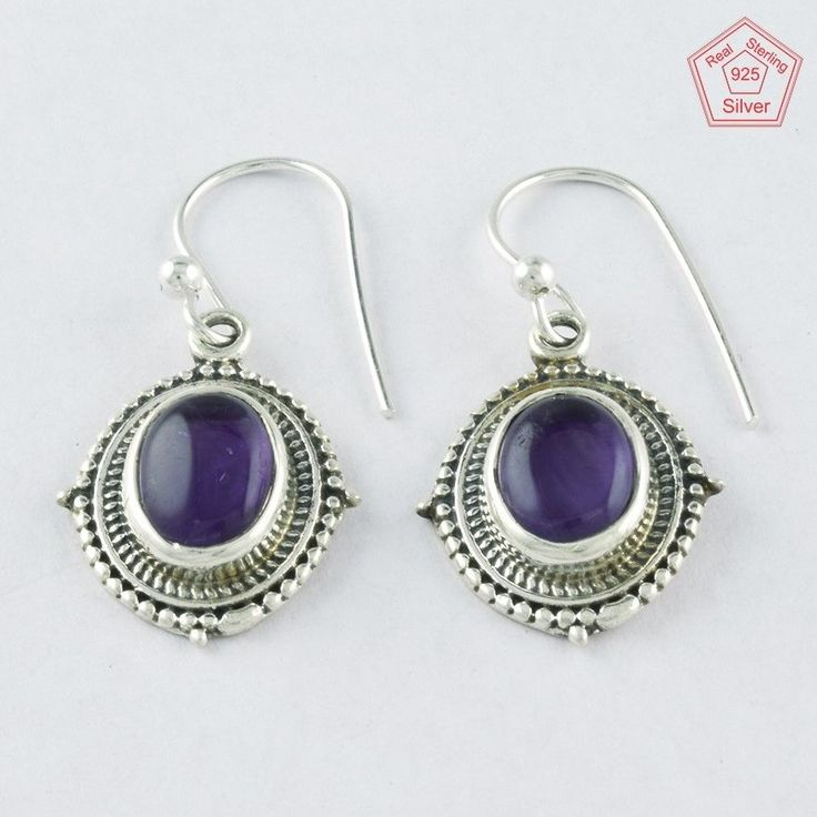 4.3 gm Silvex Images- 925 Sterling Silver Amethyst Stone Passionate Earring 4001 #SilvexImagesIndiaPvtLtd #DropDangle
