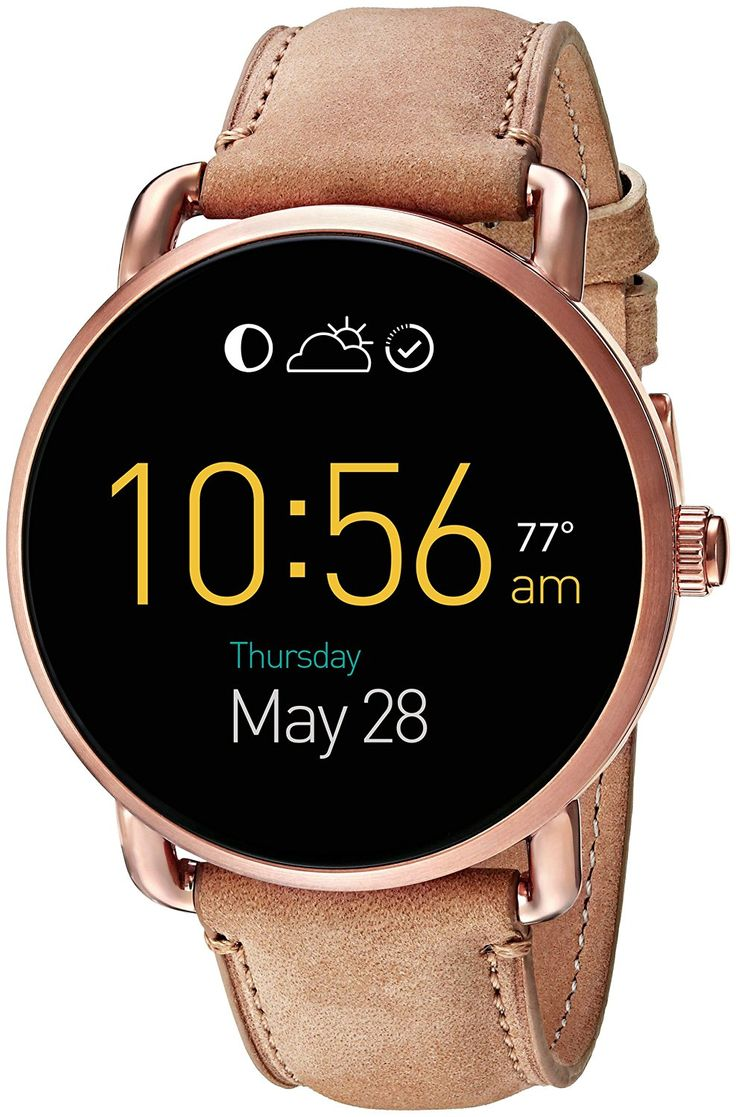 Fossil Q Wander Touchscreen Light Brown Leather Smartwatch. #Watches #SmartWatches #Fossil #fossilQWander
