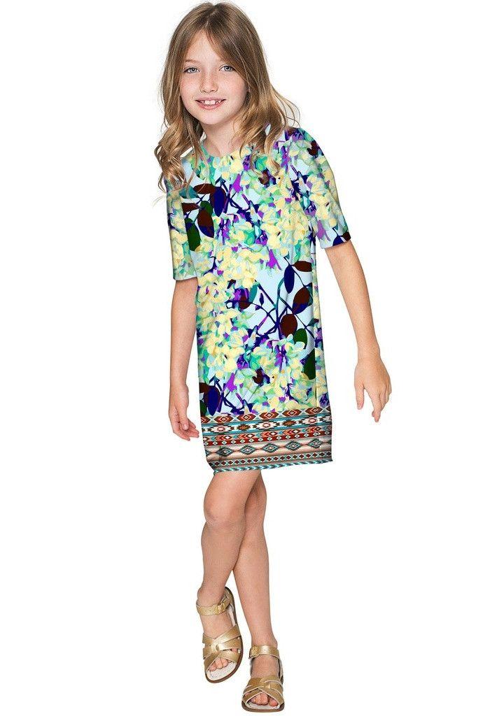 Pure Tenderness Grace Blue Pattern Cute Shift Dress - Girls