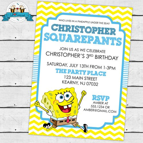 Sponge Bob Squarepants Birthday Party Birthday Party Printable Invitations - Sponge Bob Squarepants Birthday Party Printable DIY Invitation - Personalized Invite card DIY party printables will save you time and money while making your planning a snap!