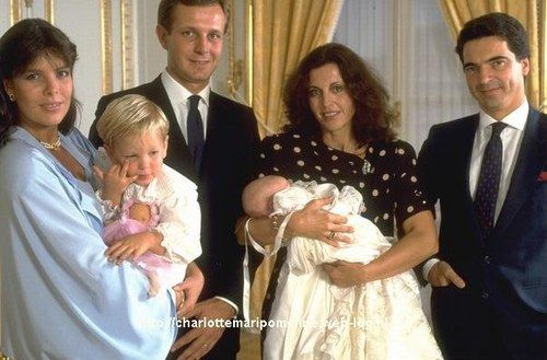 Princess Caroline of Monaco, Andrea Casiraghi, Stefano Casiraghi, Countess Albina Du Boisrouvray (Godmother) holding Charlotte Casiraghi, ? at Charlotte's Christening.