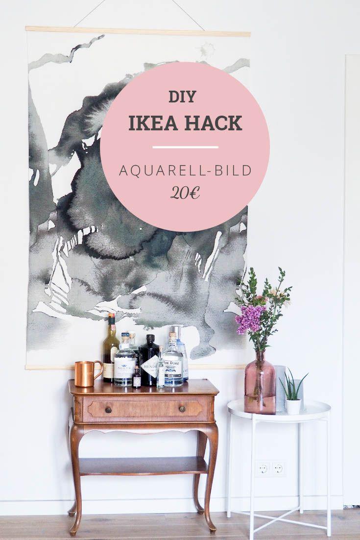 DIY IKEA Hack Aquarell-Wandbild selbermachen mit Stoff Nattglim