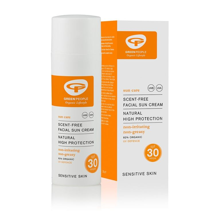Green People Facial Sun Cream Scent Free SPF30 50ml. Cruelty free. UK