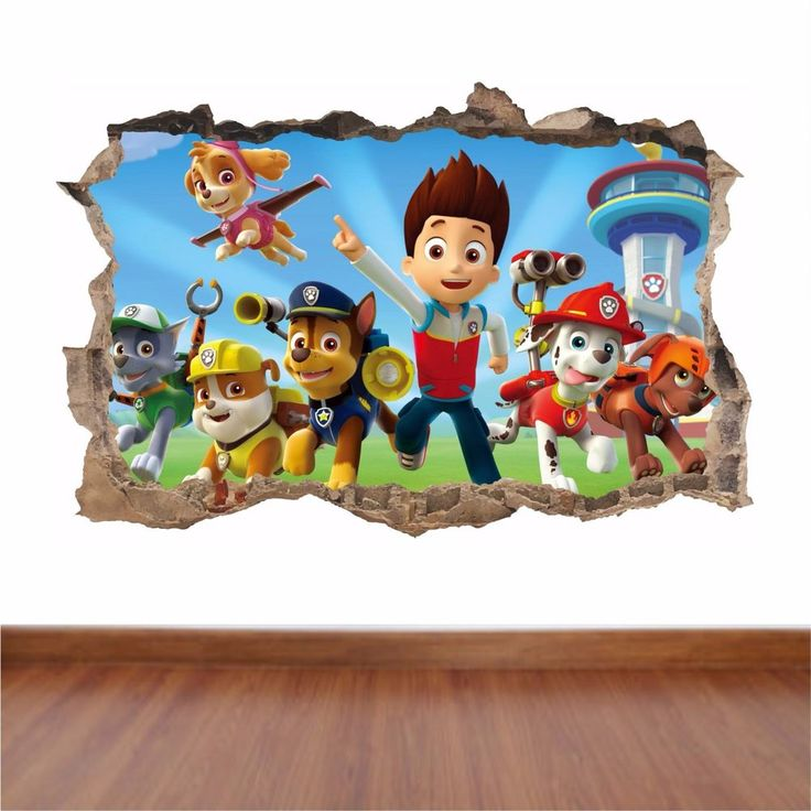 Paw Patrol hole in the wall full colour sticker decal kids