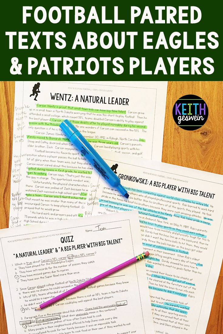 Your Students Will Love Reading About Football Players For The Teams Playing In The 2018 Super Bowl A Quiz Writi Paired Texts Third Grade Reading Ela Lesson
