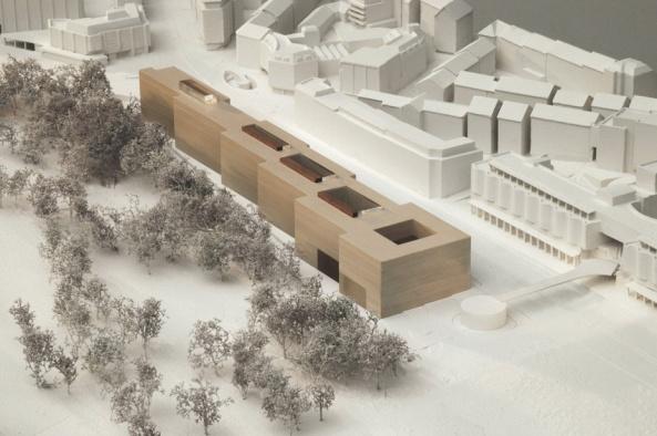 Ministeriumsbau von Staab in Stuttgart, architectural model, maqueta, modulo