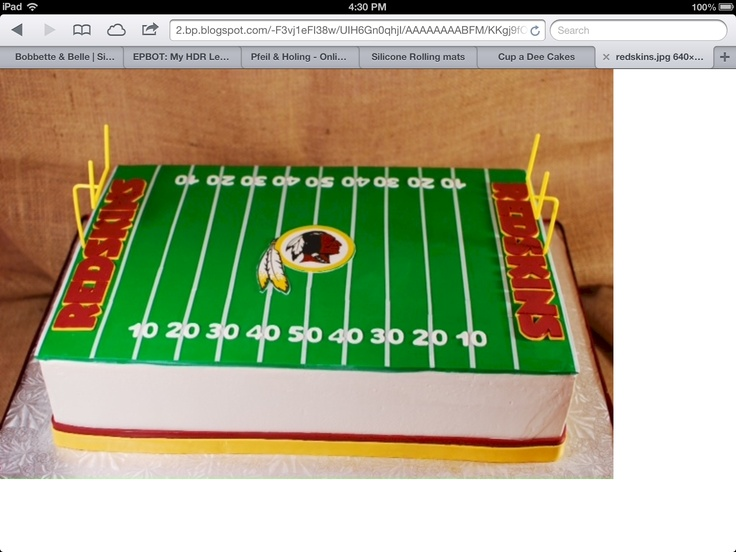 "12x18"" Redskins football field groom's cake"