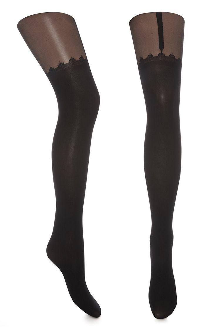 Zwarte panty met jarretels