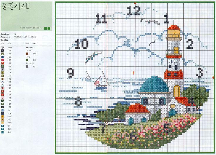 Diagrama para ponto cruz - Faról.  Fonte: http://vivianenigro-pontocruz.blogspot.com.br/2011/11/relogio-farol.html