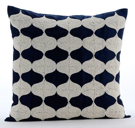 Navy Blue Decorative Bed Pillows : The 25+ best Sofa pillow covers ideas on Pinterest Linen pillows, Modern pillowcases and shams ...