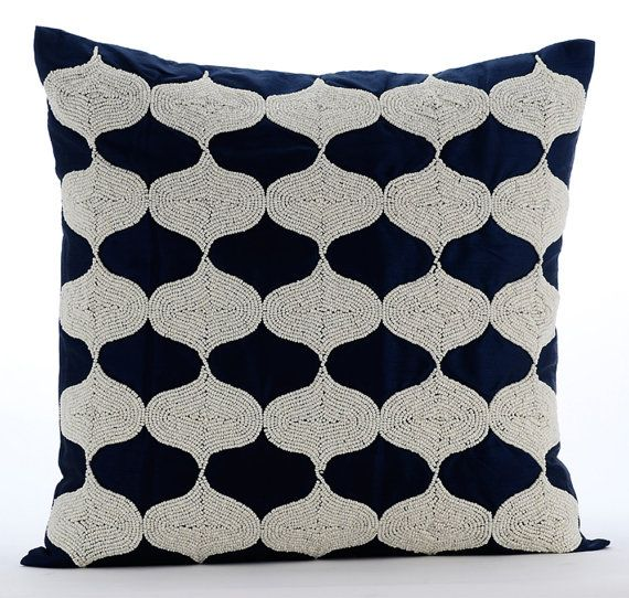 Navy Decorative Pillows for Bed 18x18 Pillow by TheHomeCentric