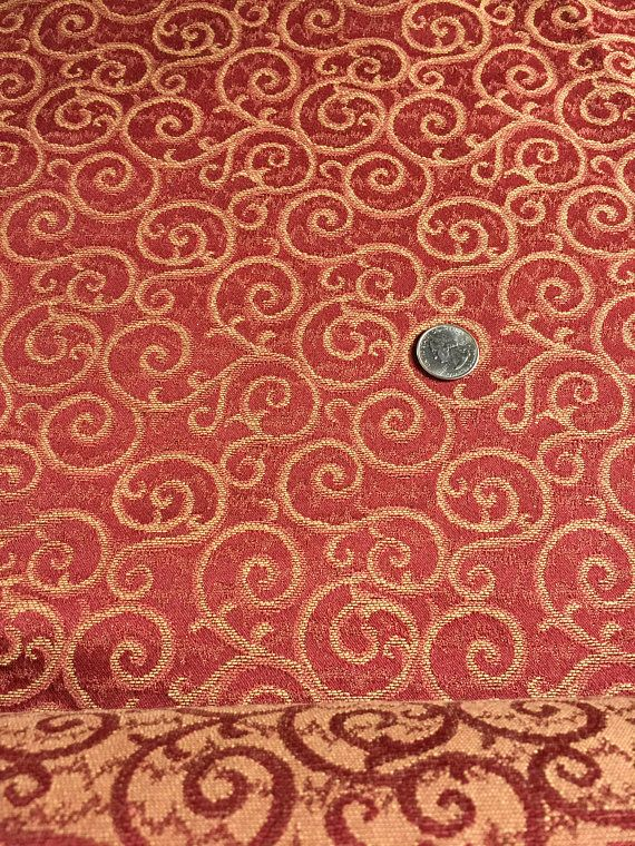 Brownish Red Tan Swirls Upholstery Fabric By The Yard