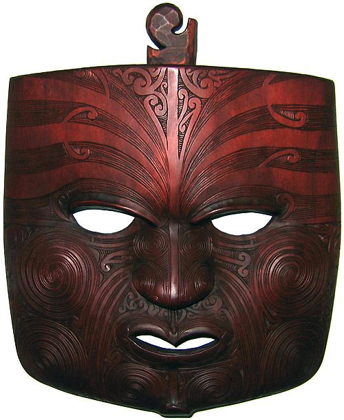 Moko Mask (carving of Maori face tattoos) by John Collins, NZ