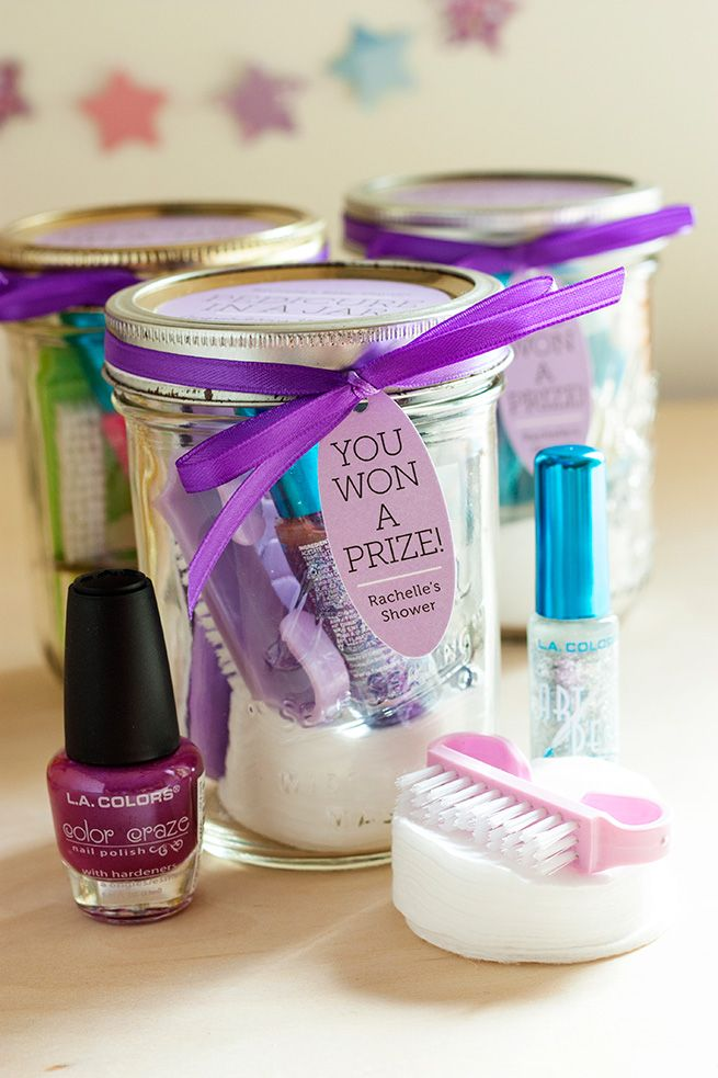 purple themed bridal shower%0A Pedicure in a Jar for Baby Shower Prizes  add your color and a butterfly  label