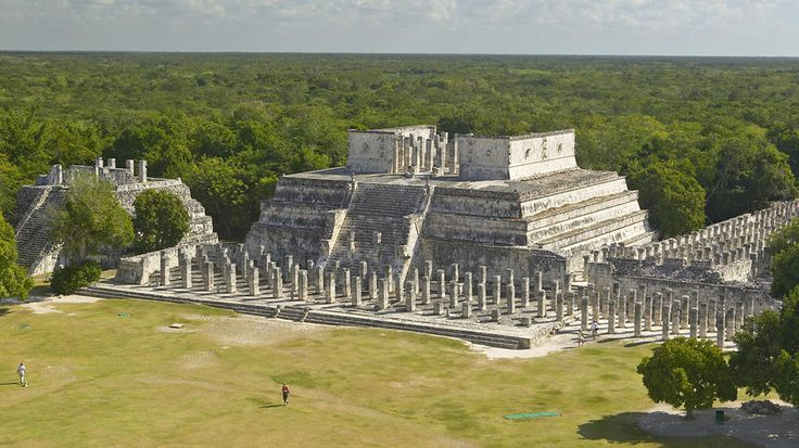 Chichen Itza, Yucatan Peninsula, Mexico :::  Looking for a large venue to celebrate the end of the current Mayan calendar on Dec. 21? The Temple of the Warriors at Chichen Itza is one of the few Mayan structures able to handle a big crowd. The site has 4 platforms, flanked by 200 round and square columns carved with Toltec warriors, and S-shaped serpent columns on its top. It took 4 years to excavate the temple from jungle growth. Chichen Itza is a popular UNESCO World Heritage Site.
