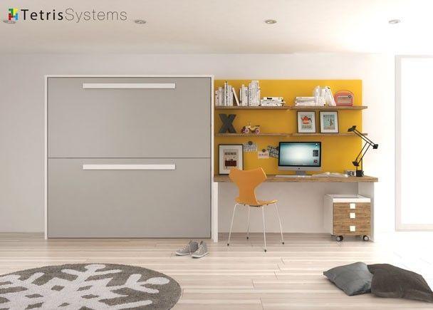 Litera abatible horizontal con escritorio y estantes