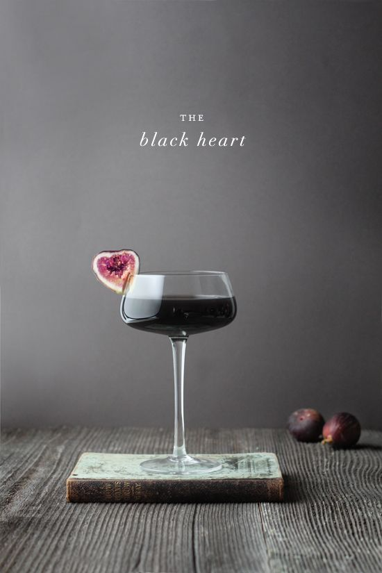 The Black Heart Darkly decadent with a hint of black fig.  Nothing says Halloween like a completely jet-black cocktail.