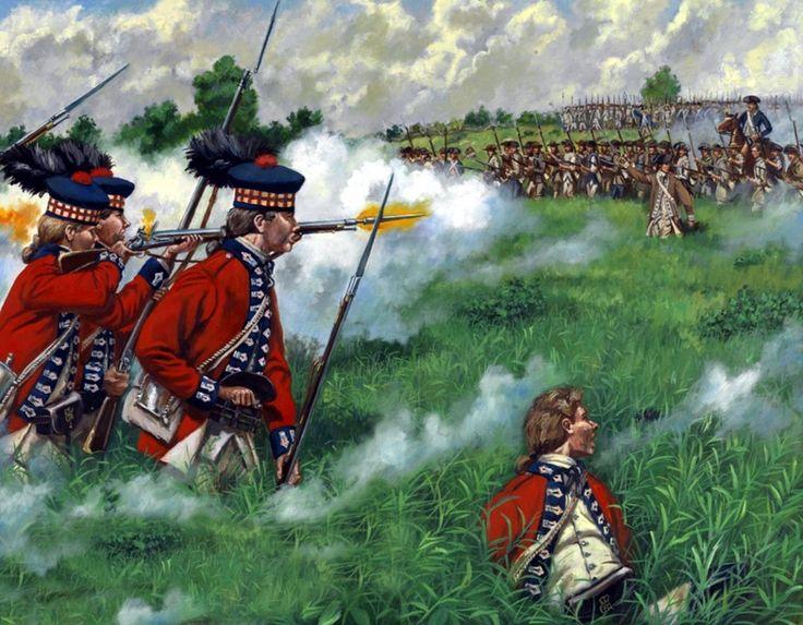 """Fucilieri scozzesi del 42 rgt. fanteria della linea inglese """"Highland alla battaglia di Monmouth, il 28 giugno 1778"""