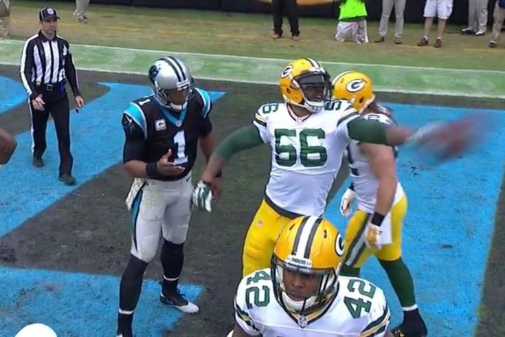 Cam Newton  punched in a one-yard touchdown in the second quarter against the Green Bay Packers on Sunday, and it looked like he wanted to celebrate by giving the ball to a young fan... #packers #panthers #cam #peppers