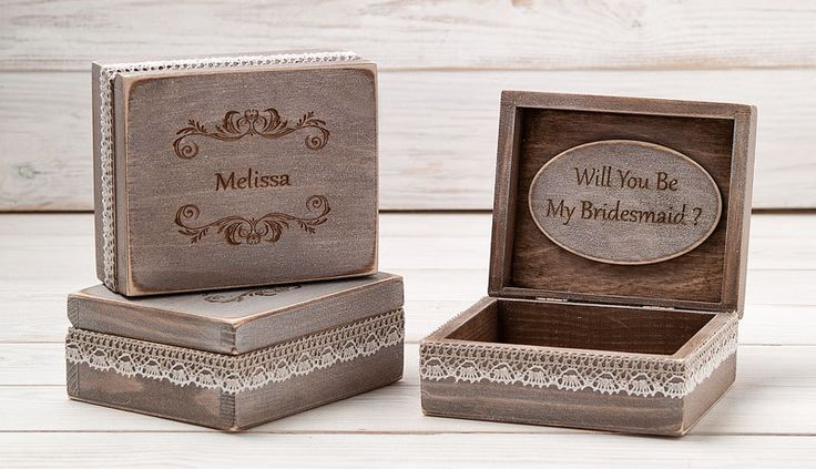 Bridesmaid Gift Box Will You Be My Bridesmaid Gift Card Personalized Bridesmaids Gifts Rustic Wedding Gift Box Bridal Party Jewelry Box by InesesWeddingGallery on Etsy