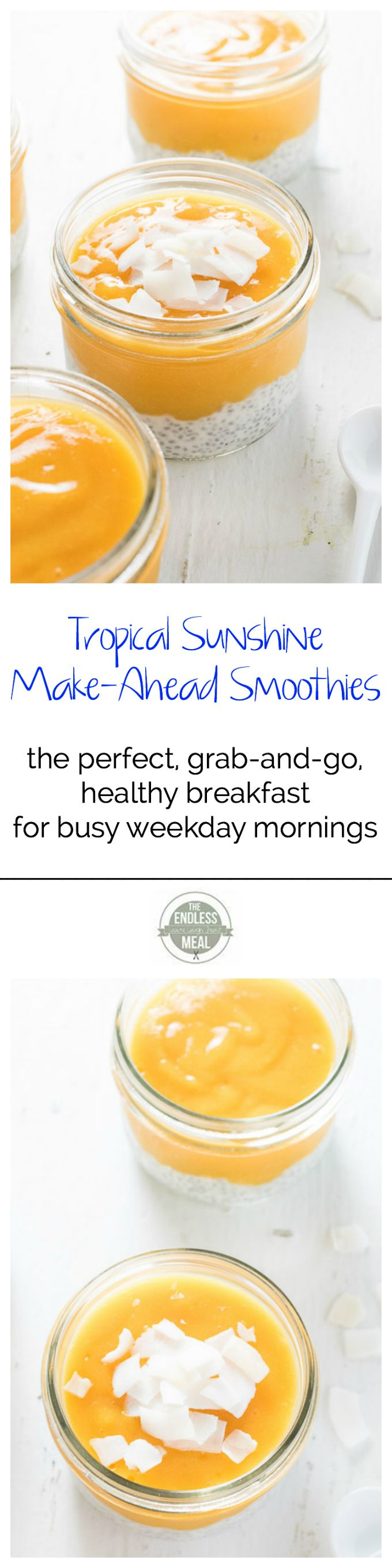 Tropical Sunshine Make-Ahead Smoothies | A healthy (and vegan!) grab and go breakfast for busy weekday mornings. | theendlessmeal.com