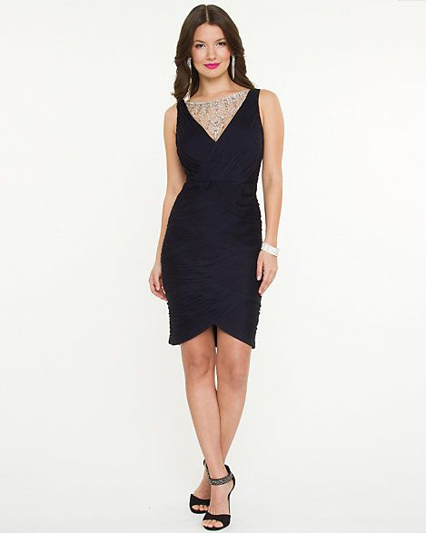 Jewelled Illusion Fitted Dress