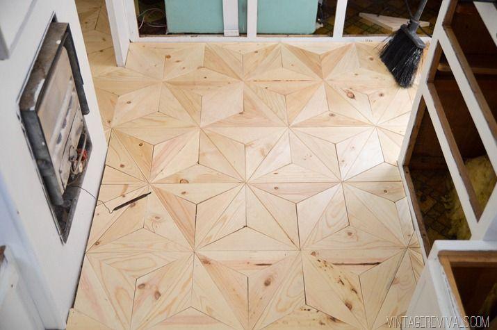 DIY Geometric Wood Floor via Vintage Revivals