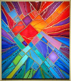 "Energy - SOLD Original Mixed Media on Panel Image Size 36"" x 41"" Click image to enlarge  $2,100.00"