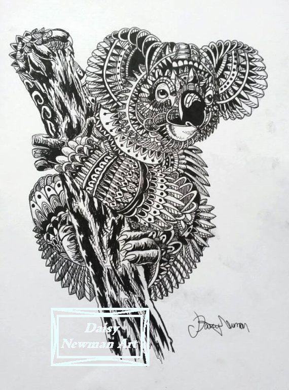 Koala Art And Design : Koala zentangle ink drawing a high quality by