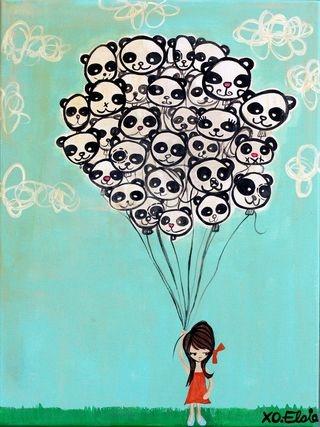 super cute panda balloons painting