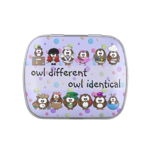 owl different - owl identical jelly belly tins