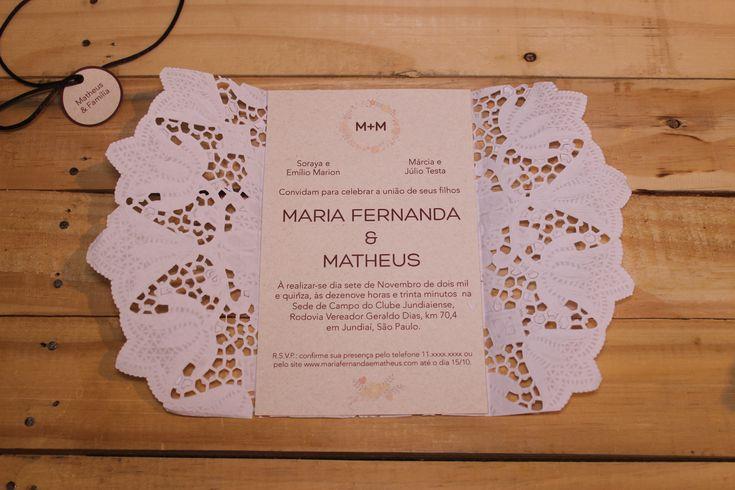 Convite de Casamento com Doilie   http://blogdamariafernanda.com/convite-de-casamento-com-doilie-2