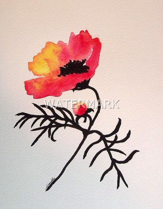 Abstract Cosmos flower , original watercolour (not print) on 240g paper approx: 7.7 x 6inch / 19.5 x 15cm. FREE SHIPPING $25.00 USD