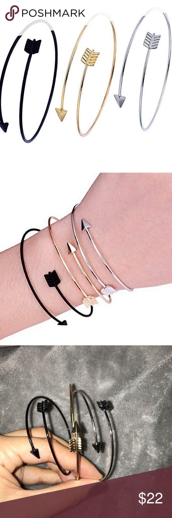 Set of 3 arrow arm cuffs Arrow bracelets in black gold and silver. NWOT Jewelry Bracelets