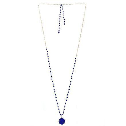 Sautoir Jaïpur Calcédoine bleu cobalt sautoir dos  - Sans attache -  - Pierres Calcédoine bleu cobalt sur dorure - Pendentif pierre semi-précieuse Calcédoine bleu cobalt  - 19497088