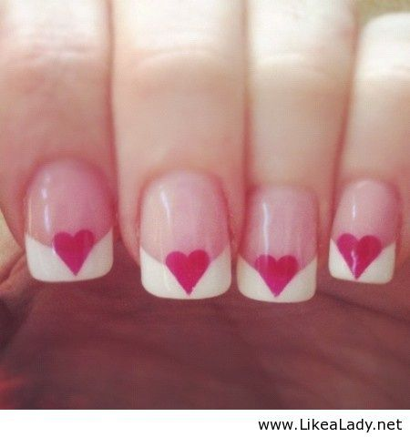 French manicure with hearts