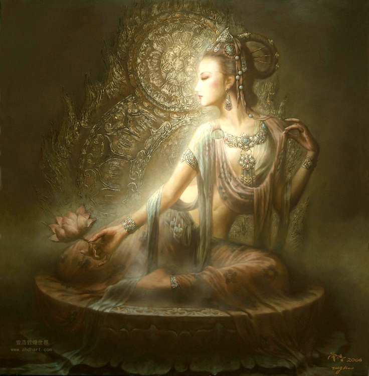In many of these, Zeng Hao has depicted Kuan Yin holding a lotus, with which I associate my own embattled heart. This means she is always with me, and can never forget me. Even though I have yet to clear all obscurations, Kuan Yin loves us no less than these lovely lotuses!