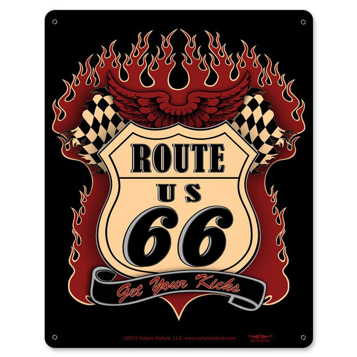 Route 66 Kicks Metal Sign 12 x 15 Inches, $29.98 (http://www.jackandfriends.com/route-66-kicks-metal-sign-12-x-15-inches/)
