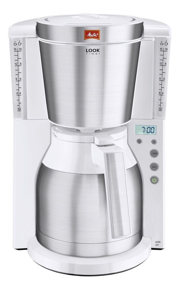 Filter Coffee Machine Electric White Steel Kitchen Insulated Thermal Pot Timer