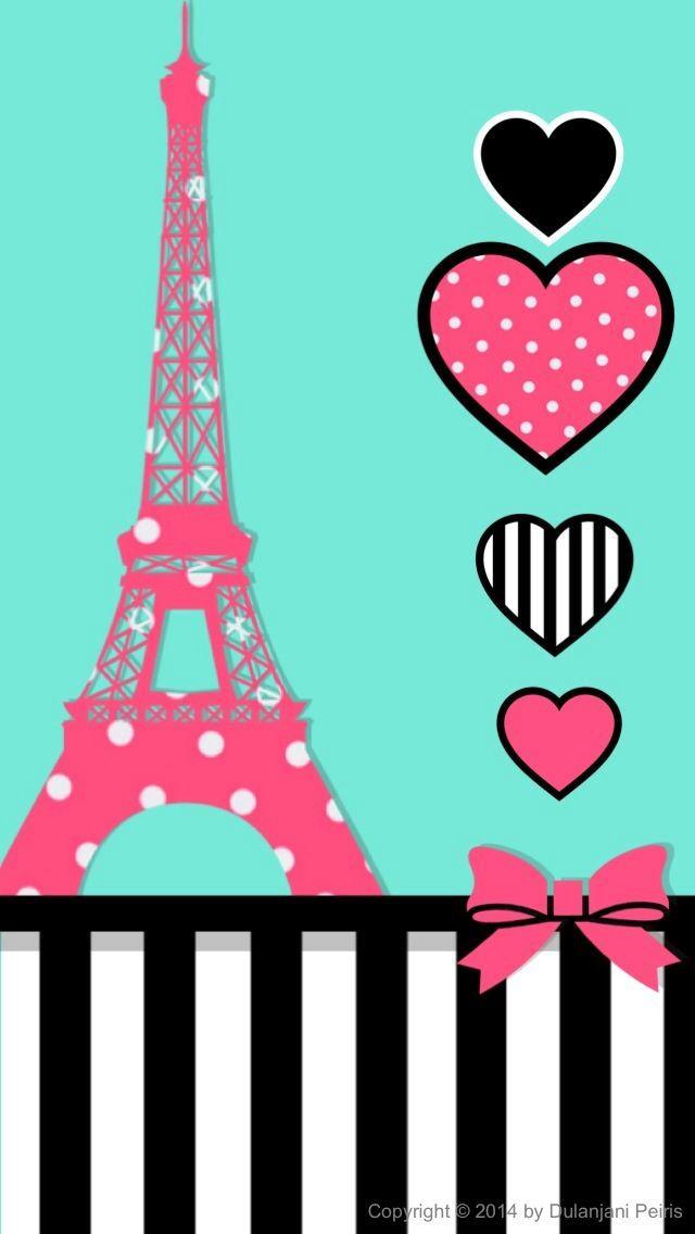 Eiffel Tower Hearts Wallpaper.