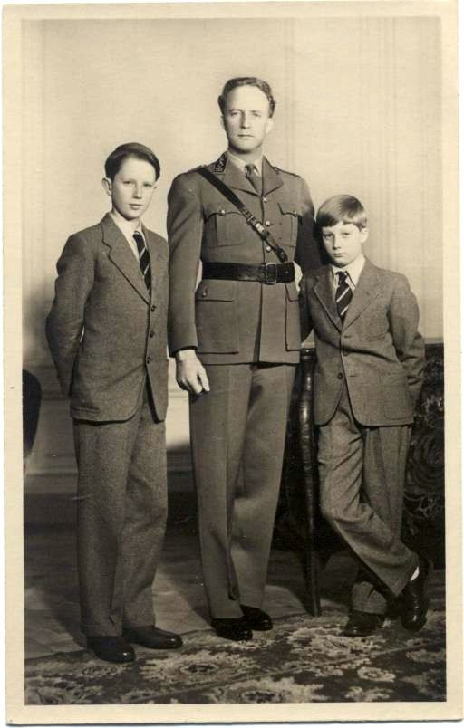 King Leopold III of the Belgians with his two sons, both future Kings of the Belgians, Prince Baudouin, Duke of Brabant and Prince Albert of Belgium, Prince ofLiège.