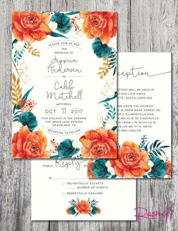 Wedding Invitation Printable Set Vintage Rustic Orange