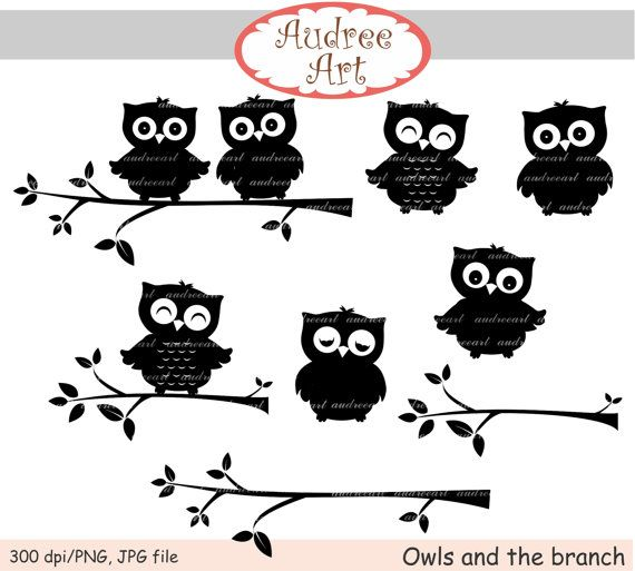owls clip art , Silhouette Owls clip art, cute owls, black branch, black and white owls,Halloween owls, invites cards, instant download