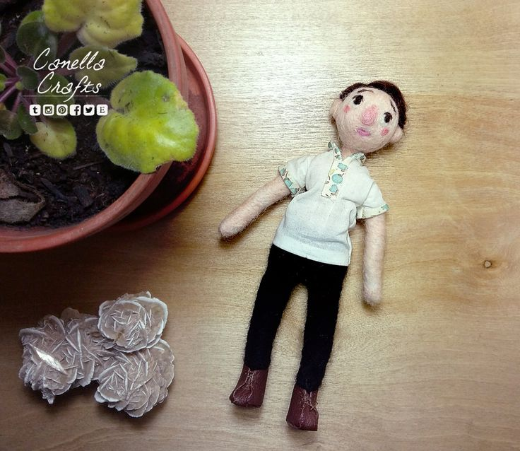 Needle felted, dark haired clay doll by CanellaCrafts on Etsy