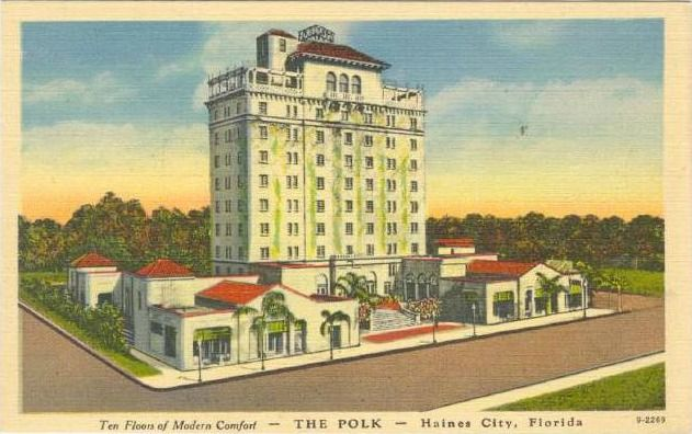 This vintage postcard shows the Polk Hotel in Haines City, Florida.  It still stands today, and is on the National Register of Historic Places.