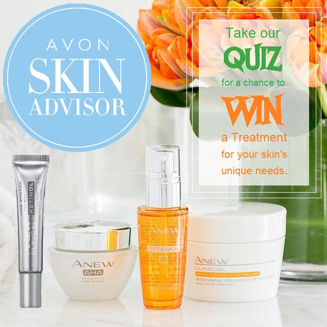 """Visit and take our QUIZ for a chance to WIN one of Avon's Anew Skin Care Treatment's (Full size) and Moisturizer (5 day samples) !!  Enter your """"Treat & Moisturize"""" results here https://www.facebook.com/rclarkavon/photos/a.278677008921136.59565.278642675591236/1365106753611484/?type=3&theater"""