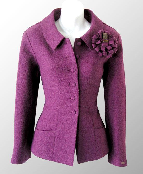 That lovely curved seamed jacket again, now in burgundy
