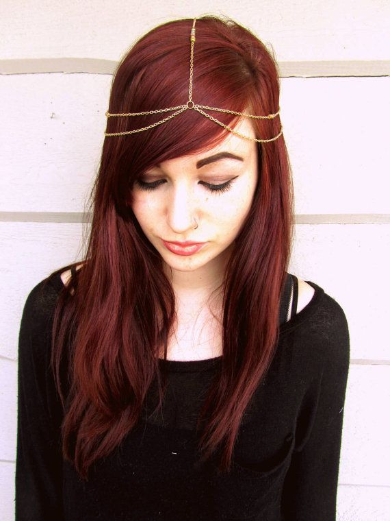 Simple gold beaded head chain, gold head chain Etsy