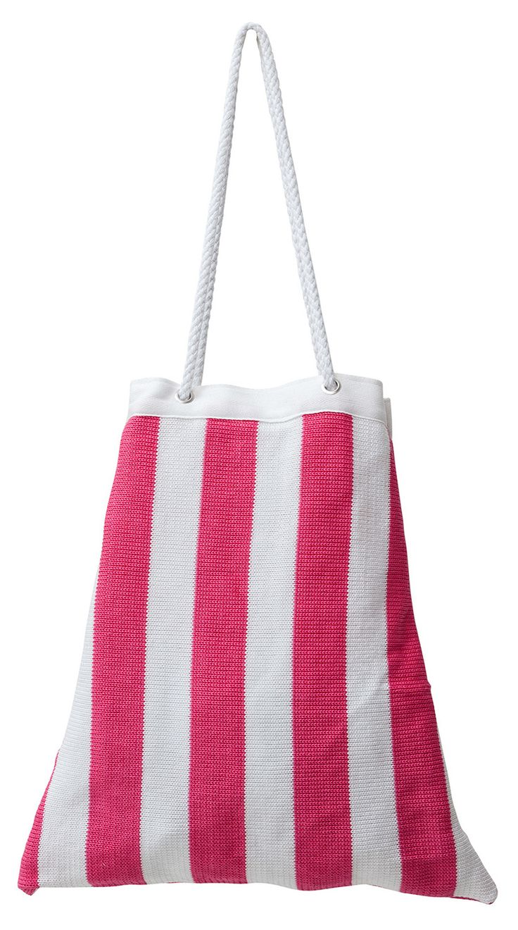 Knitted beach bag with waterproof lining in five colour ways:  Candy (pink)…