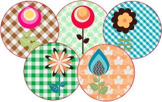 retro bloemen magneten voor koelkast en magneetbord - � 5,95